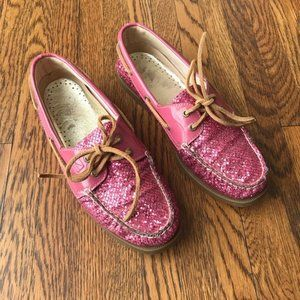 Sperry Pink Glitter Slip-on Boat Shoes